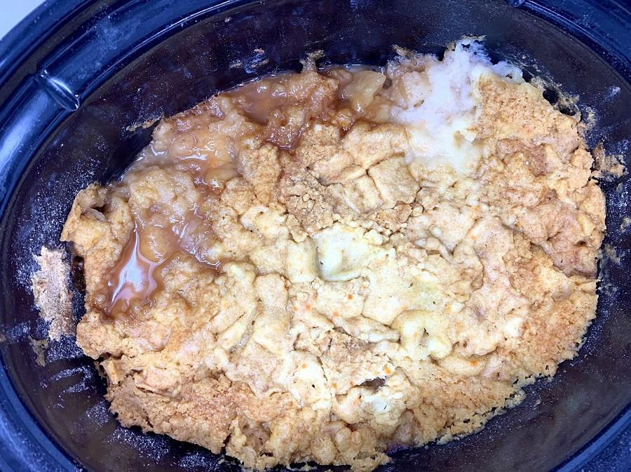 Slow Cooker Apple Crisp Recipe Overhead View of Ingredients in a Crockpot