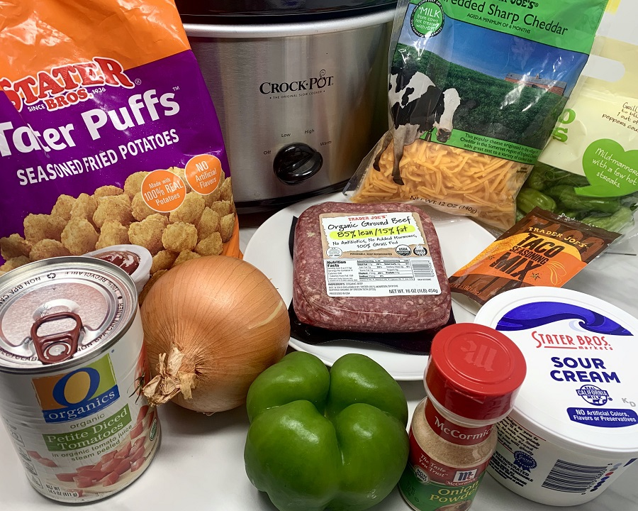 Slow Cooker John Wayne Casserole with Tater Tots Ingredients Gathered Together