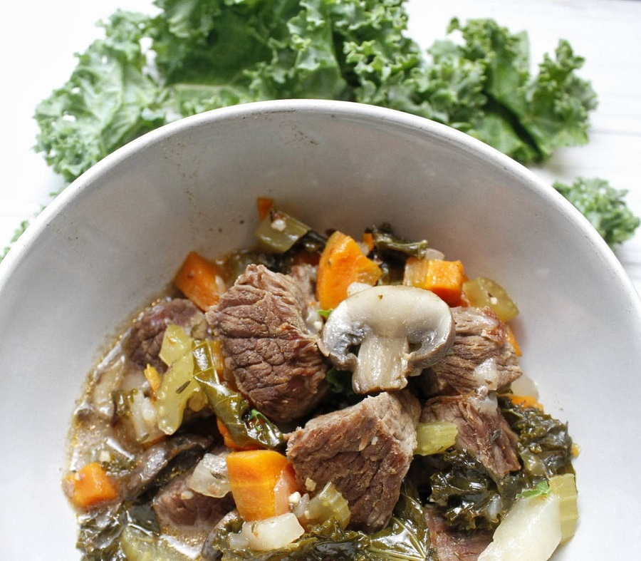 2B Mindset Instant Pot Beef Stew Close Up of a Bowl of Stew with Kale
