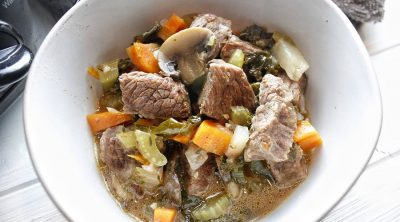 Crockpot Low Carb Beef Stew in a White Bowl
