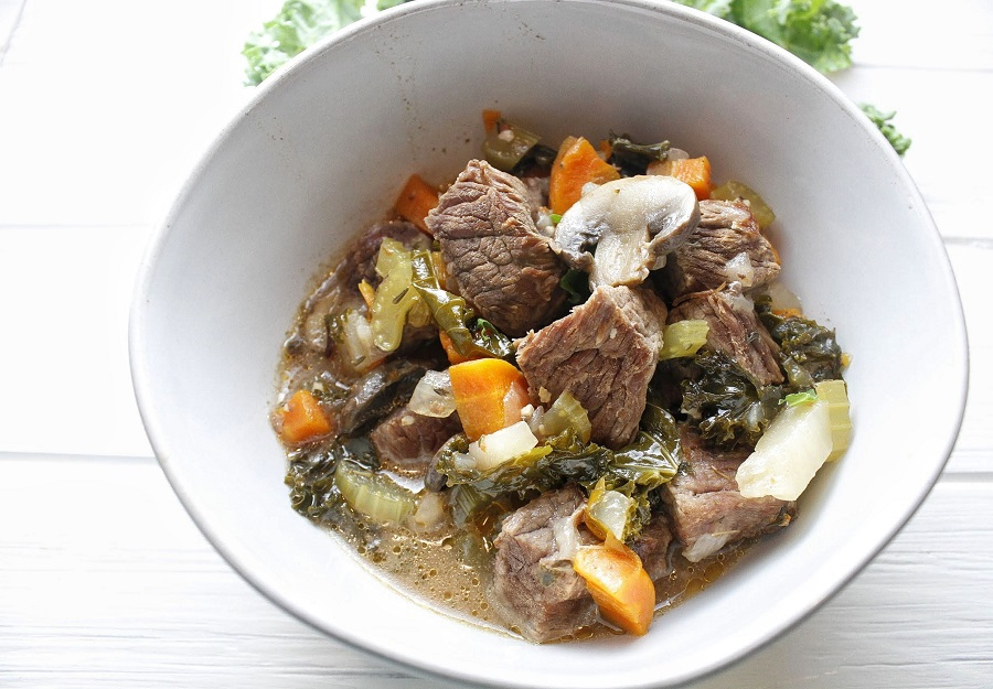 2B Mindset Instant Pot Beef Stew Overhead View of Stew in a White Bowl
