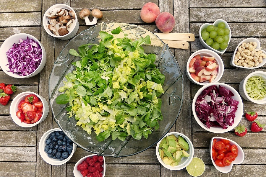 Red Wine Vinegar Salad Dressing Recipes Overhead View of a Deconstructed Salad