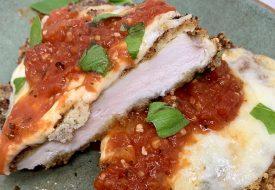 Best Panko Chicken Parmesan Recipe Finished Chicken Cut in Half