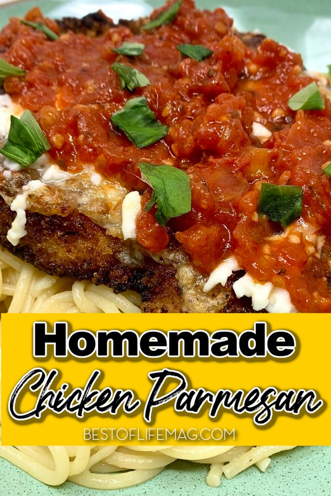 A panko chicken parmesan recipe is an easy dinner recipe that the entire family will love. It is also perfect for a nice date night. Date Night Recipes | Recipes for Two | Family Dinner Recipes | Chicken Recipes | Italian Chicken Recipes | Chicken Parmesan Pasta | Chicken Dinner Recipes #chicken #recipe via @amybarseghian