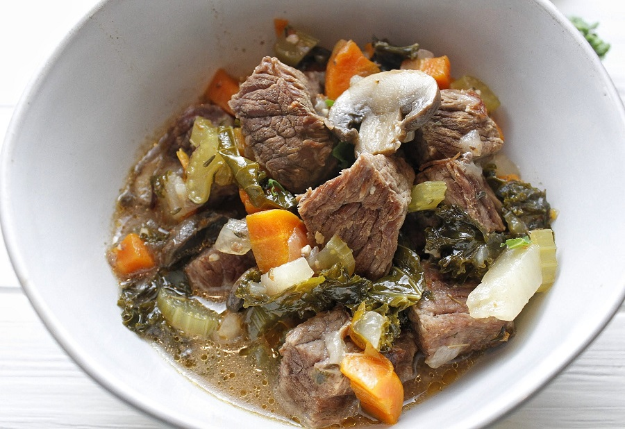 Instant Pot Low Carb Beef Stew Close up of Stew in a White Bowl