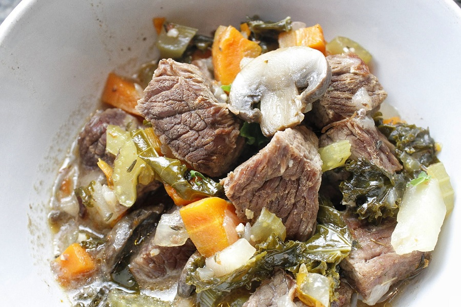 Instant Pot Low Carb Beef Stew Close Up of Stew