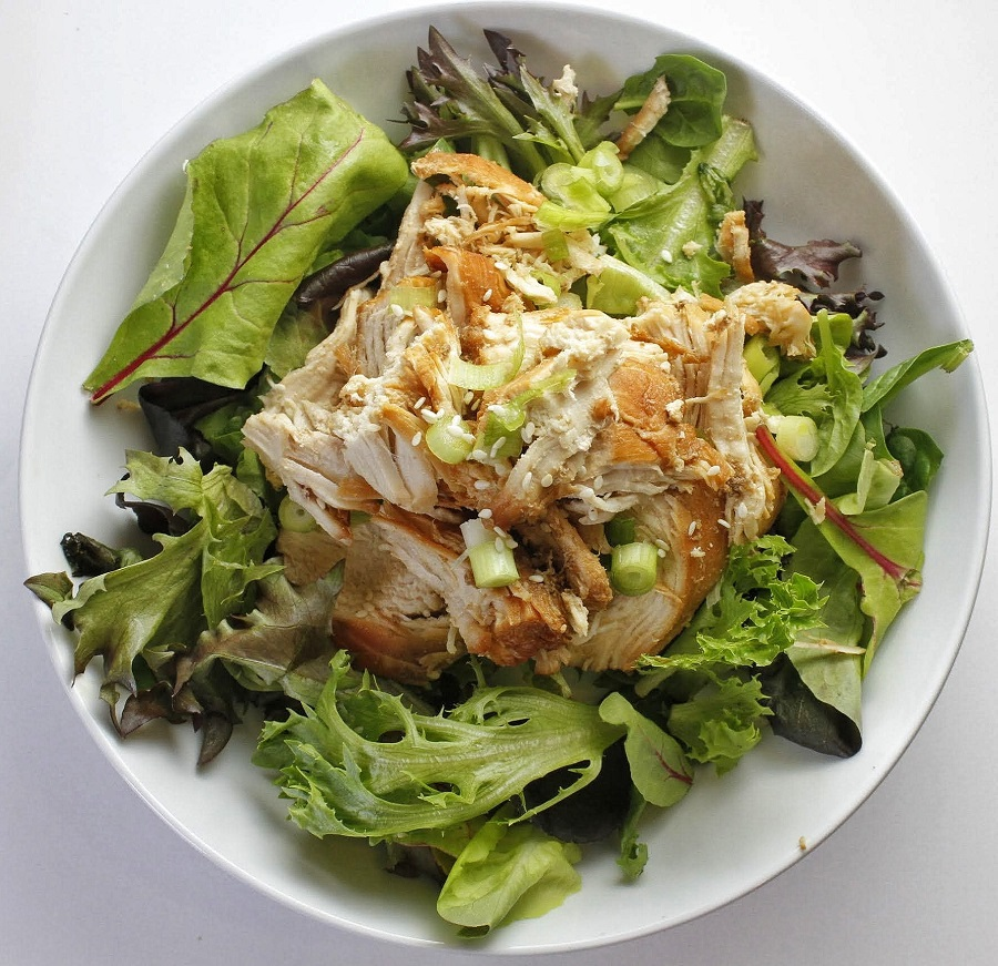 Low Carb Teriyaki Chicken Salad Recipe Distant Overhead View of Finished Dish