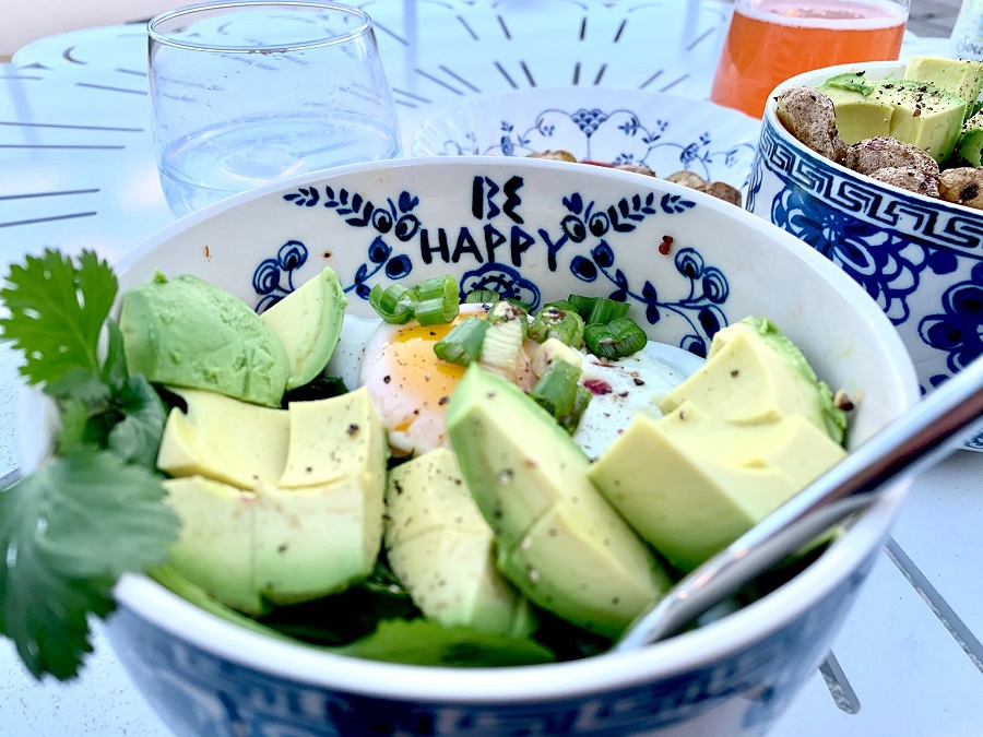 Keto Diet Tips for Beginners Overhead View of a Bowl with Avocados and Eggs Inside