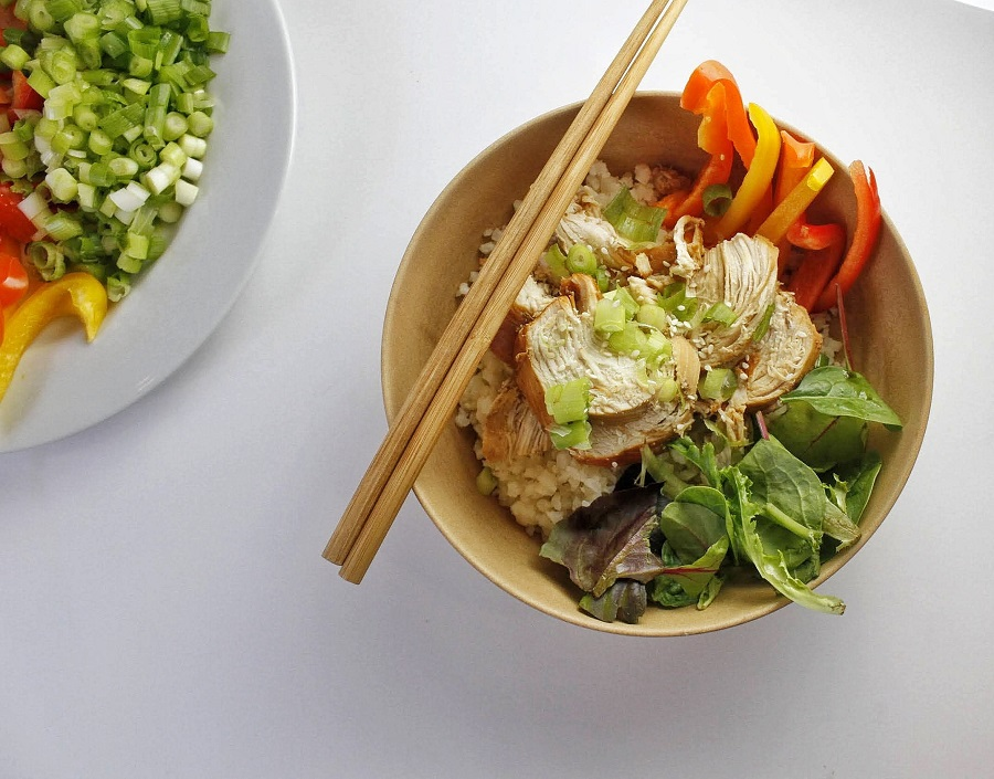 Low Carb Teriyaki Chicken Salad Recipe Overhead View of Teriyaki Chicken Salad in a Bowl