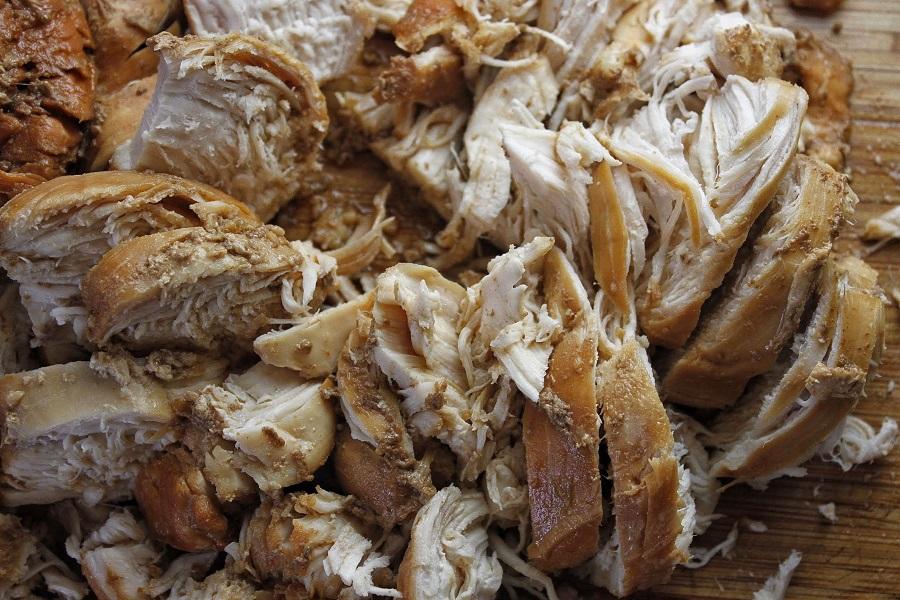 Low Carb Teriyaki Chicken Salad Recipe Close Up of Shredded Chicken
