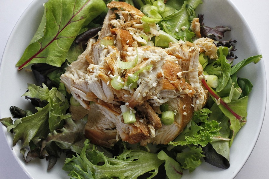 Low Carb Teriyaki Chicken Salad Recipe Overhead View of Chicken on a Bowl of Salad