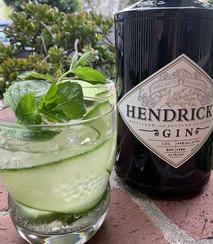 Sparkling Cucumber Cooler with Gin Cocktail Recipe Close Up of a Glass Next to a Bottle of Hendricks