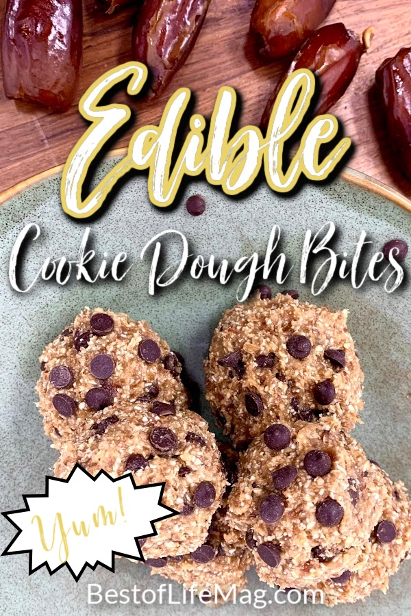Edible cookie dough bites are the perfect bite sized treat! They easily satisfy a sweet tooth and are an easy dessert for kids to make! Vegan Edible Cookie Dough | Cookie Dough Healthy | Eat Pastry Vegan Cookie Dough | Edible Cookie Dough Balls | Edible Cookie Batter | Recipes for Parties | Snack Recipes | Healthy Snack Ideas #cookiedough #partyrecipes via @amybarseghian