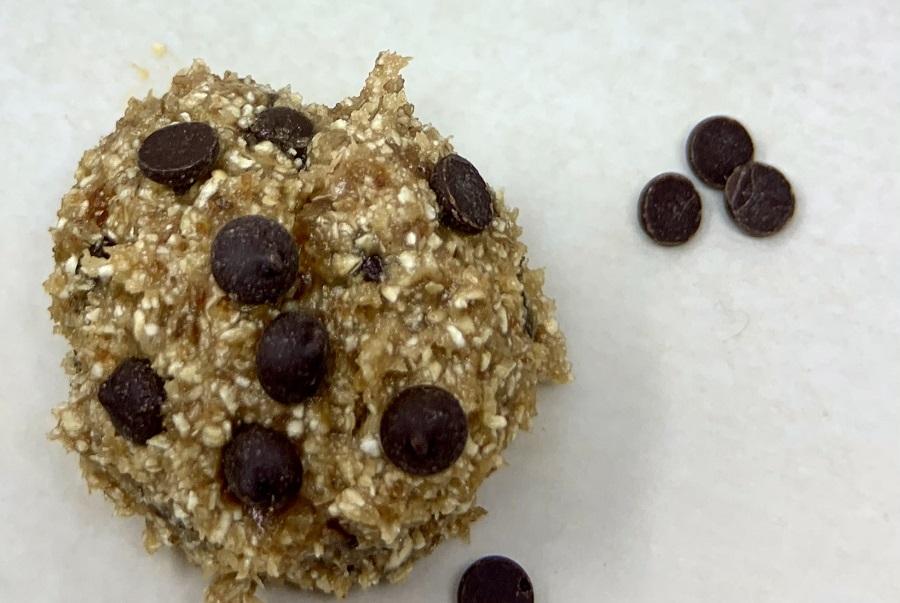 Vegan Edible Cookie Dough Bites Recipe Close Up of a Dough Bite