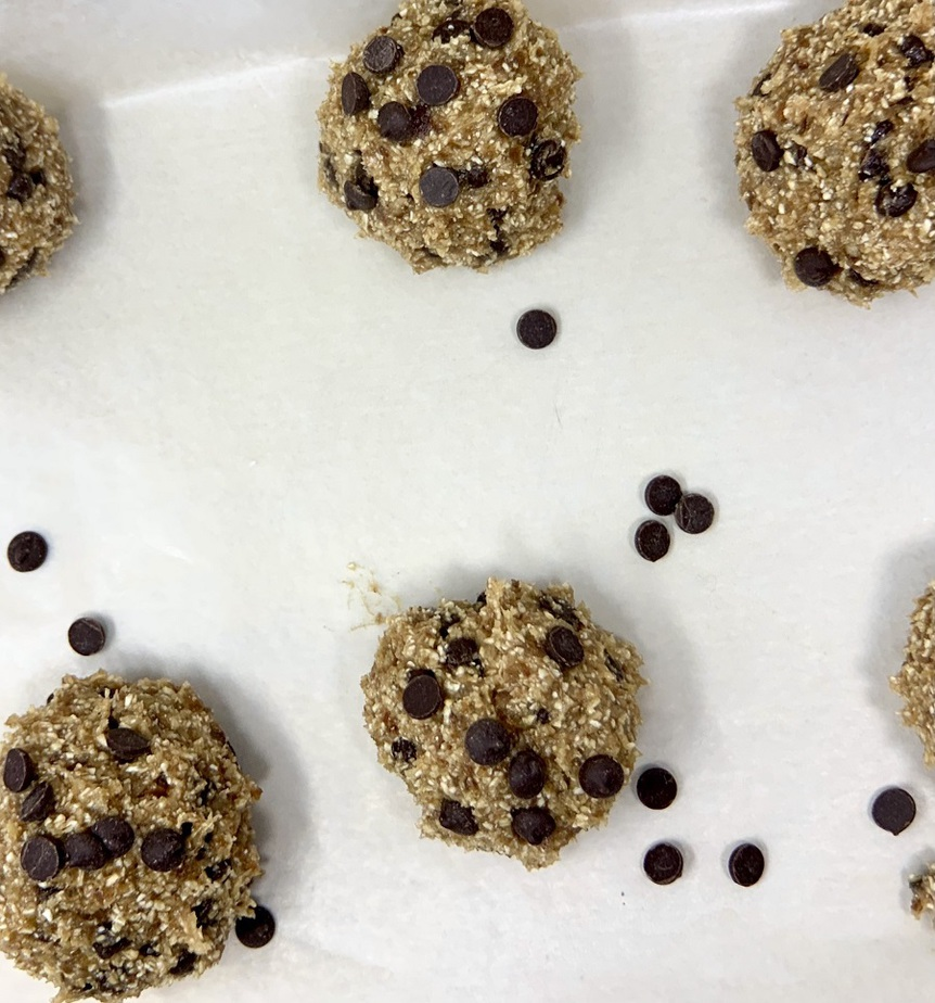 Vegan Edible Cookie Dough Bites Recipe Bites Laid Out on a Sheet of Parchment Paper
