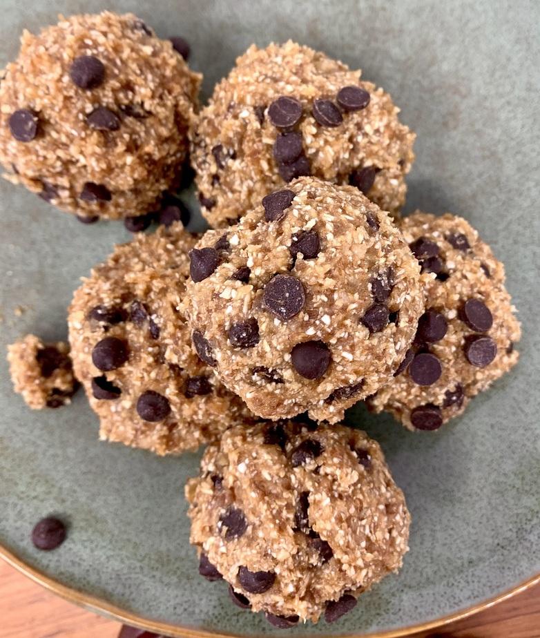 Vegan Edible Cookie Dough Bites Recipe Overhead View of a Plate of Cookie Dough Bites