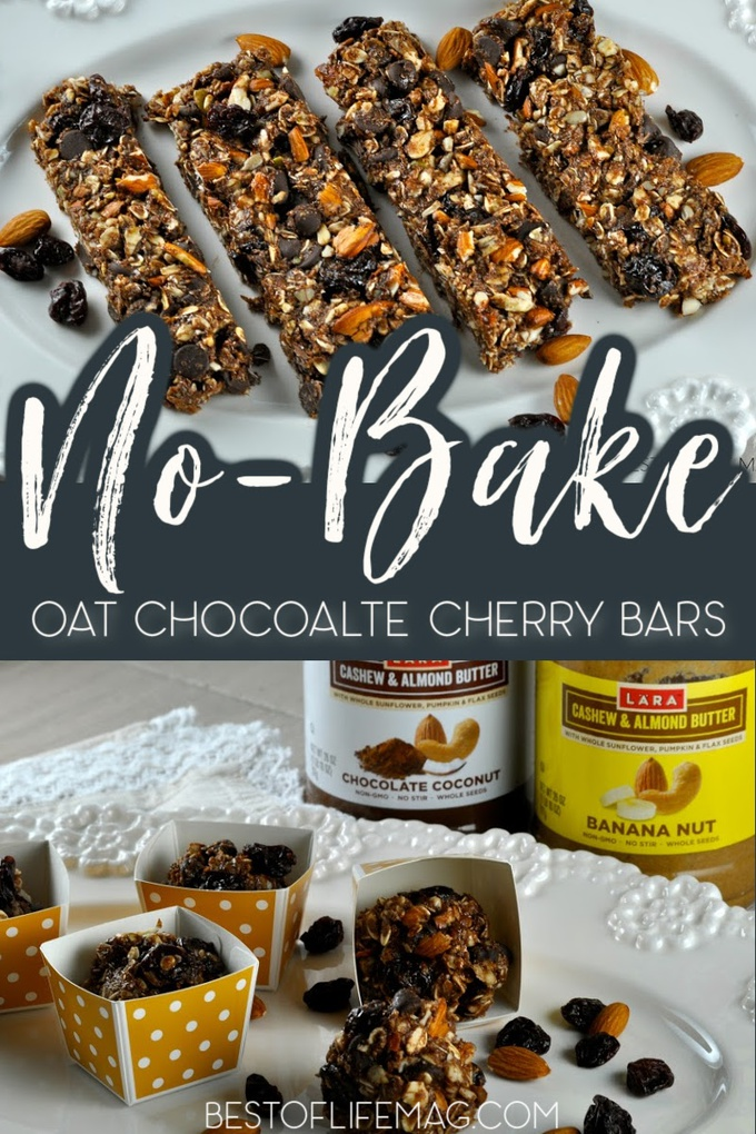 No bake oat chocolate cherry bars are quick and easy to make and they're awesome for on the go snacking or breakfast options! No Bake Recipes   Healthy No Bake Recipes   Healthy Snack Recipes   Homemade Snacks   Oat Snack Recipes   Recipes with Cherries #healthysnacks #nobakerecipes via @amybarseghian
