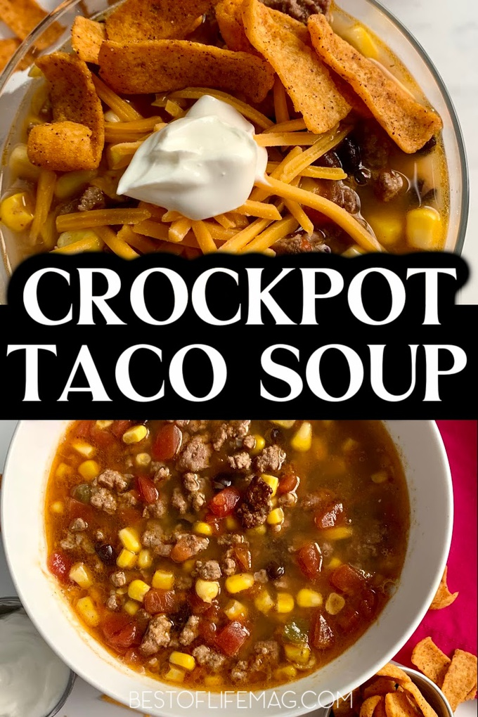The best crockpot taco soup recipe will give you another easy family-favorite meal to utilize any day of the week, especially taco Tuesday. Crockpot Soup Recipes | Slow Cooker Soup Recipes | Taco Tuesday Recipes | Tips for Taco Soup | Taco Soup Without Beans | Mexican Soup Recipes | Easy Crockpot Recipes | Crockpot Recipes for Beginners #tacosoup #crockpotsoup via @amybarseghian