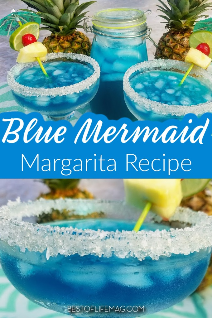 Mermaid inspiration comes in many forms including a bright and colorful mermaid margarita! Blue margaritas like this mermaid margarita are perfect for summer gatherings and backyard barbecues! #margaritas #happyhour #cocktails | Mermaid Margaritas | Mermaid Cocktails | Best Margarita Recipes | Easy Margarita Recipes via @amybarseghian