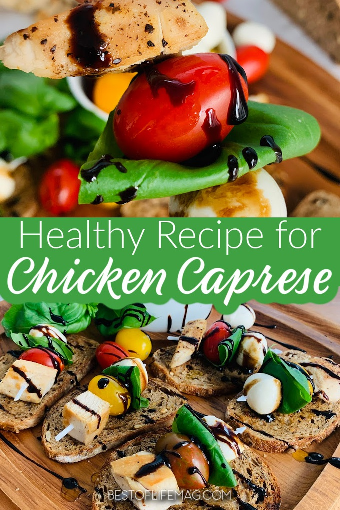 A healthy chicken Caprese recipe is an appetizer that displays beautifully for parties and is a tasty and easy light dinner that everyone will enjoy. Healthy Recipes with Chicken | Chicken Dinner Recipes | Family Dinner Recipes | Date Night Recipes | Recipes for Date Night | Healthy Dinner Recipes | Romantic Recipes | Recipe for Couples #mealprep #dinnerrecipe via @amybarseghian