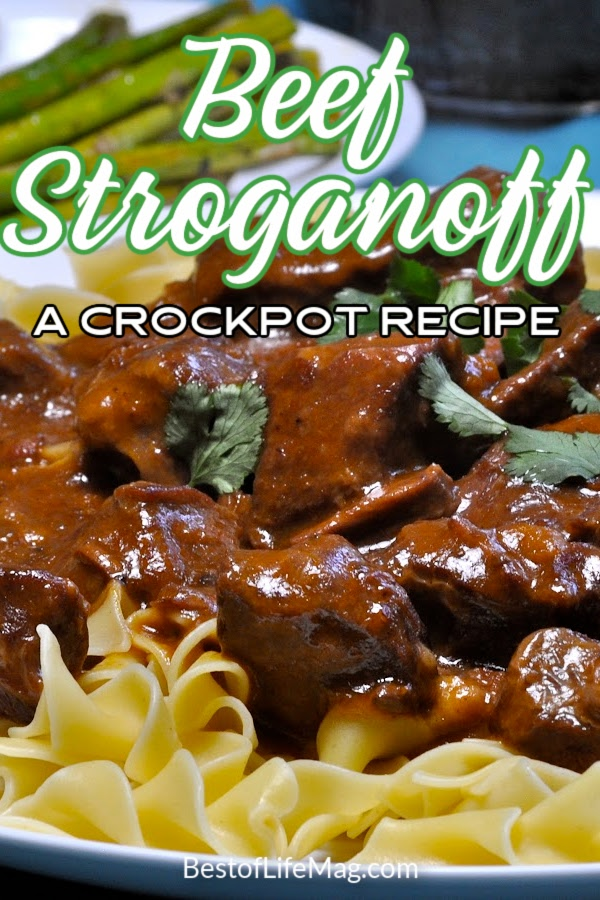 Enjoy this easy beef stroganoff crockpot recipe for a weeknight meal or with guests. The golden mushroom soup adds flavor and it has only SIX ingredients. Stroganoff Recipes | Beef Stroganoff Recipes | Slow Cooker Stroganoff | Crockpot Stroganoff | Slow Cooker Recipes | Crockpot Recipes | Crockpot Pasta Recipe | Slow Cooker Recipe with Beef | Crockpot Recipe with Beef | Dinner Recipe | Family Dinner Recipe #crockpotrecipe #dinnerrecipes via @amybarseghian