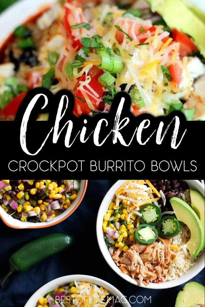 Use crockpot chicken burrito bowl recipes to feed your whole family with little to no effort making weekly meal planning a breeze. Chicken Burrito Bowl Recipes | Family Crockpot Recipes | Crockpot Recipes for Families | Crockpot Burrito Bowl Recipes for Families | Mexican Crockpot Recipes | Mexican Food Recipes for Dinner #dinnerrecipes #crockpotrecipes via @amybarseghian